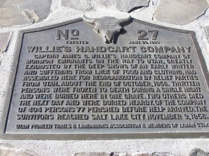 Monument to the 15 members of the Willie Company who were buried at Rock Creek Hollow, Wyoming.