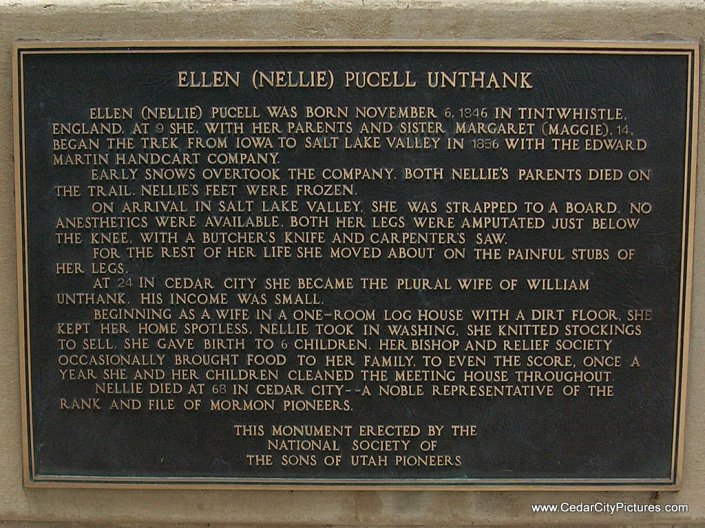 Large plaque on Monument to Ellen Pucell in Cedar City, Utah