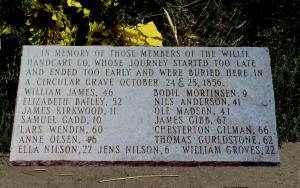 Grave marker for 15 members of the Willie Company who were buried in Rock Creek, WY